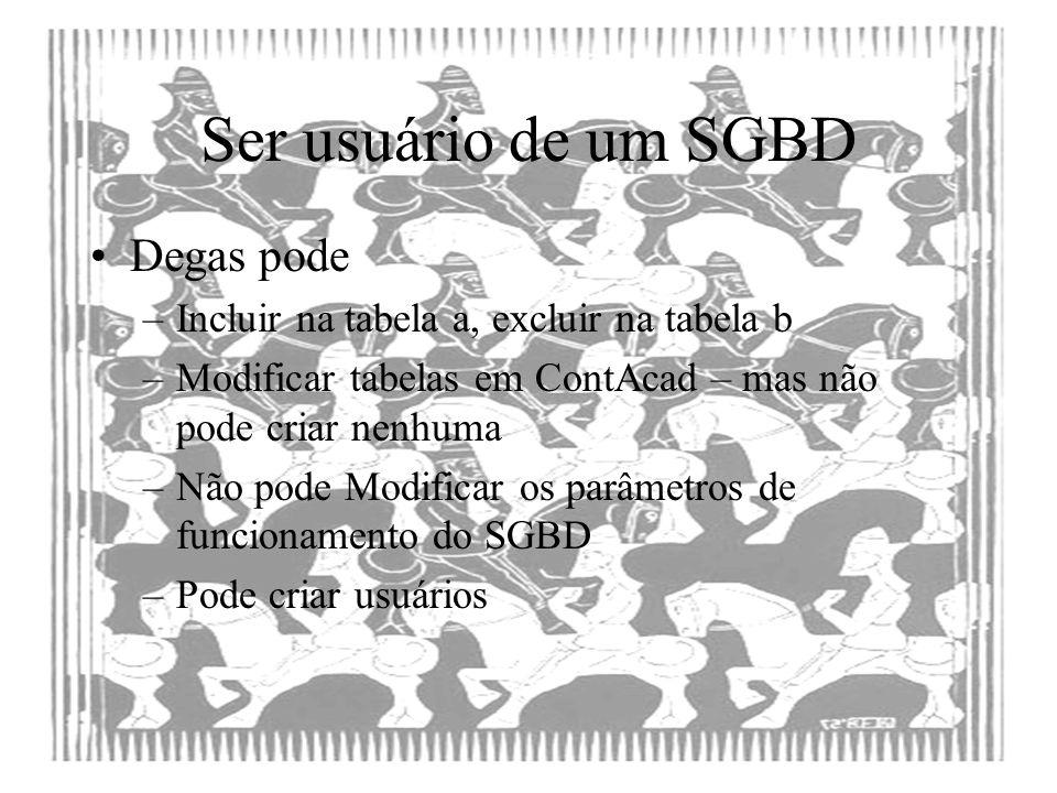 Ser usuário de um SGBD Degas pode –Incluir na tabela a, excluir na tabela b –Modificar tabelas em ContAcad – mas não pode criar nenhuma –Não pode Modi