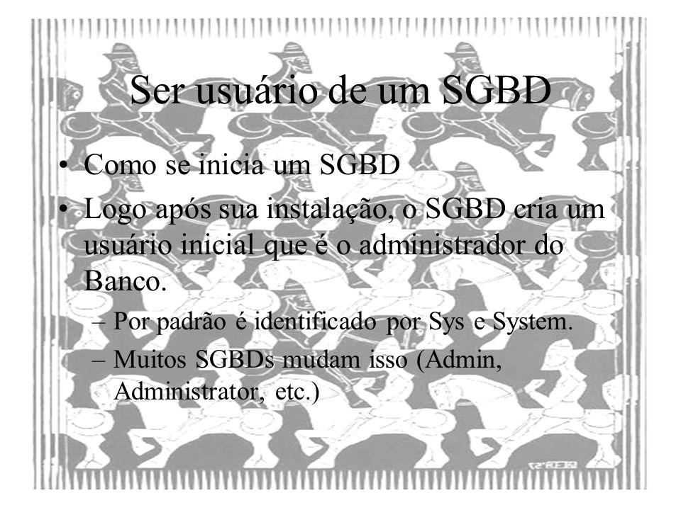 Ser usuário de um SGBD Como se inicia um SGBD Logo após sua instalação, o SGBD cria um usuário inicial que é o administrador do Banco. –Por padrão é i