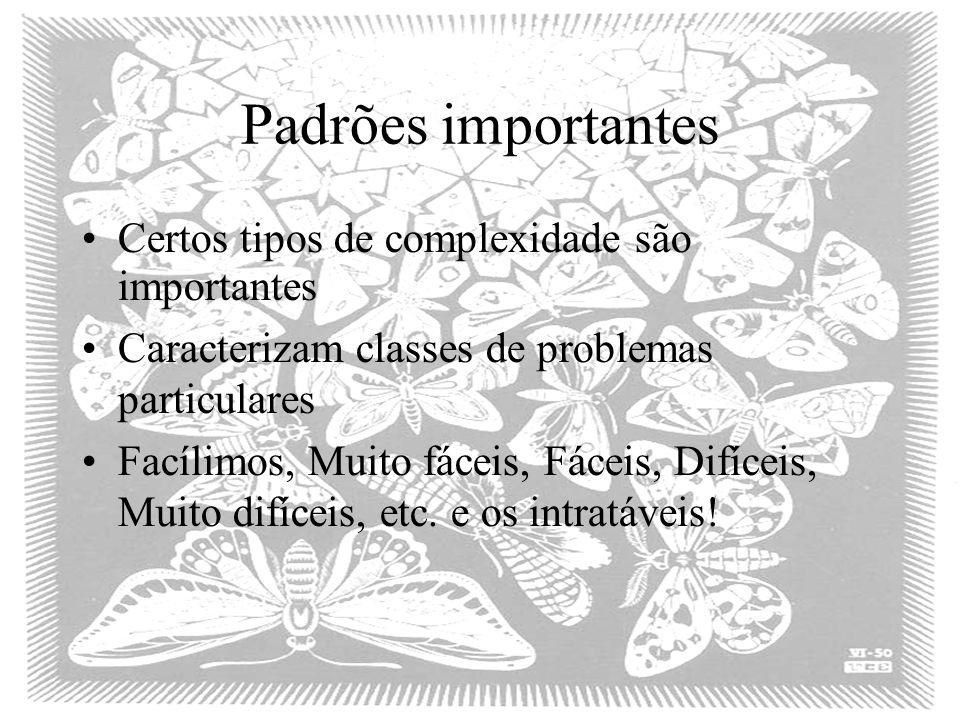 Padrões importantes Certos tipos de complexidade são importantes Caracterizam classes de problemas particulares Facílimos, Muito fáceis, Fáceis, Difíc