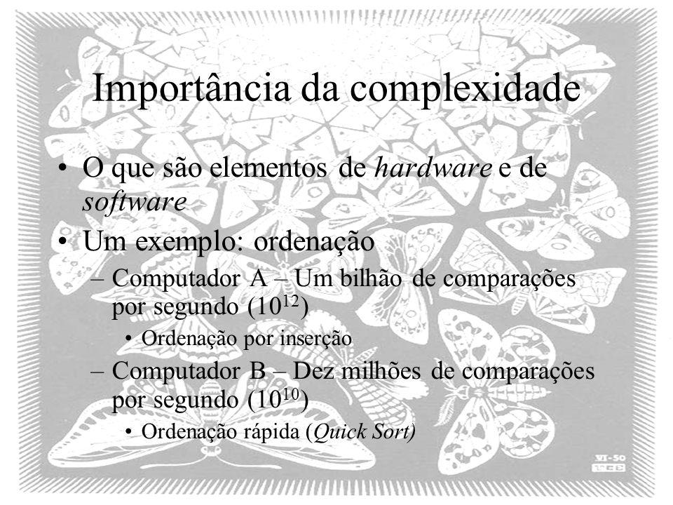 Importância da complexidade O que são elementos de hardware e de software Um exemplo: ordenação –Computador A – Um bilhão de comparações por segundo (10 12 ) Ordenação por inserção –Computador B – Dez milhões de comparações por segundo (10 10 ) Ordenação rápida (Quick Sort)