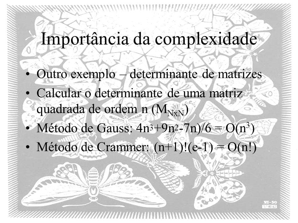 Importância da complexidade Outro exemplo – determinante de matrizes Calcular o determinante de uma matriz quadrada de ordem n (M NxN ) Método de Gauss: 4n 3 +9n 2 -7n)/6 = O(n 3 ) Método de Crammer: (n+1)!(e-1) = O(n!)