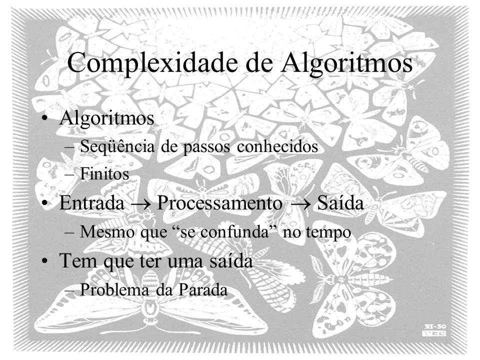 Complexidade de Algoritmos Algoritmos –Seqüência de passos conhecidos –Finitos Entrada Processamento Saída –Mesmo que se confunda no tempo Tem que ter