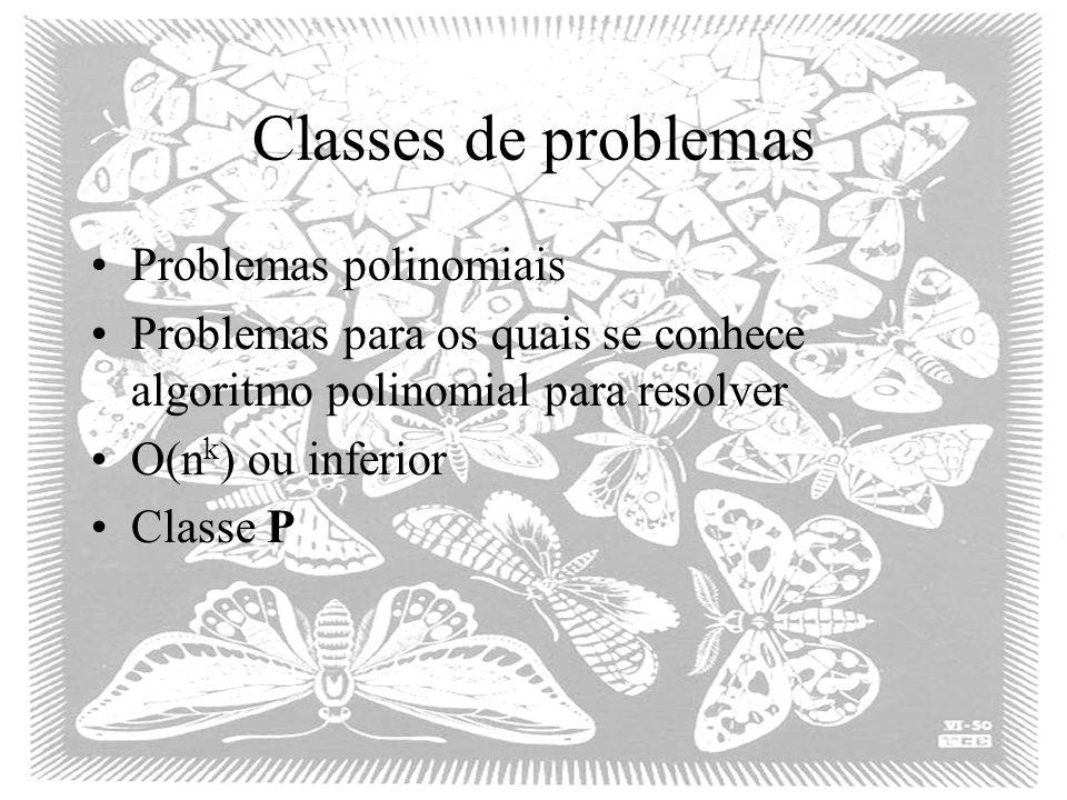 Classes de problemas Problemas polinomiais Problemas para os quais se conhece algoritmo polinomial para resolver O(n k ) ou inferior Classe P