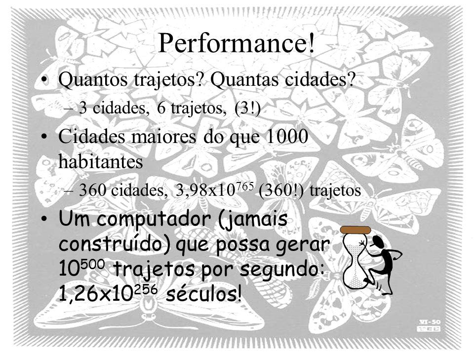Performance! Quantos trajetos? Quantas cidades? –3 cidades, 6 trajetos, (3!) Cidades maiores do que 1000 habitantes –360 cidades, 3,98x10 765 (360!) t