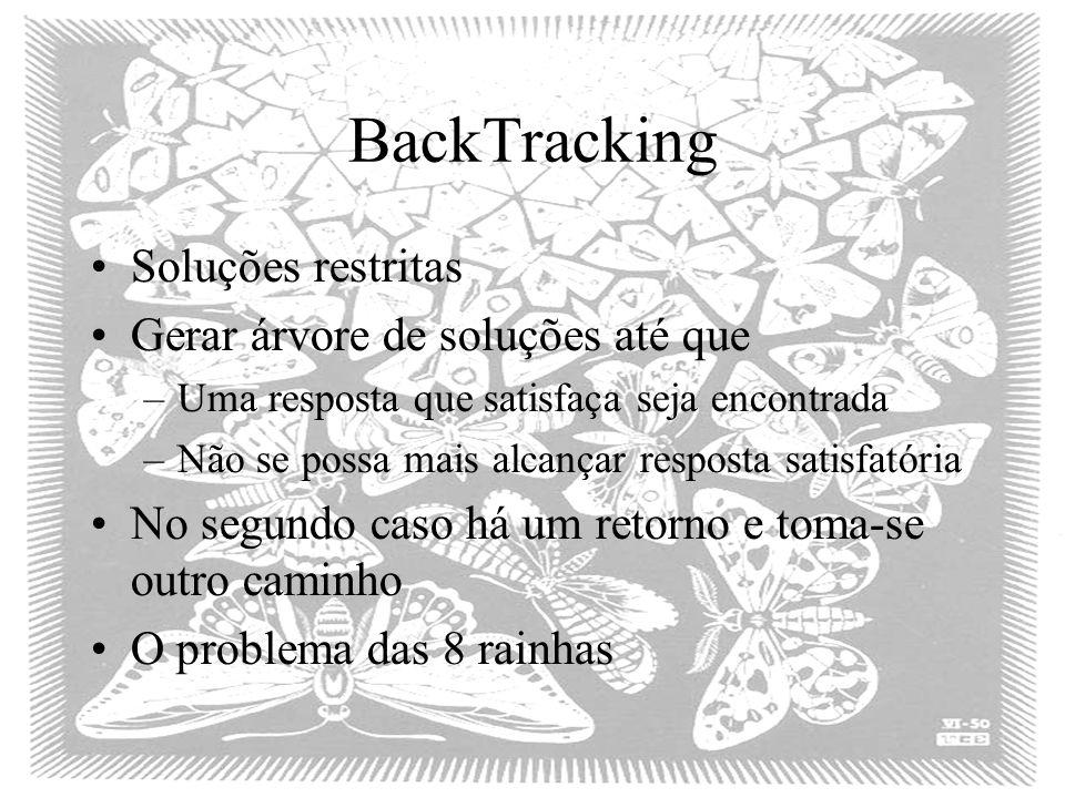 BackTracking Soluções restritas Gerar árvore de soluções até que –Uma resposta que satisfaça seja encontrada –Não se possa mais alcançar resposta sati