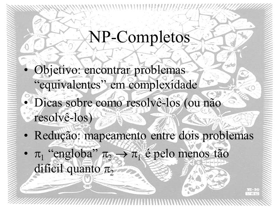 NP-Completos Objetivo: encontrar problemas equivalentes em complexidade Dicas sobre como resolvê-los (ou não resolvê-los) Redução: mapeamento entre do