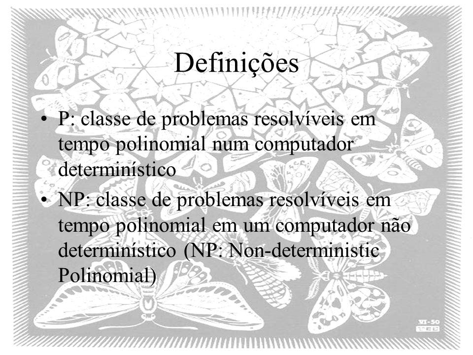 Definições P: classe de problemas resolvíveis em tempo polinomial num computador determinístico NP: classe de problemas resolvíveis em tempo polinomia