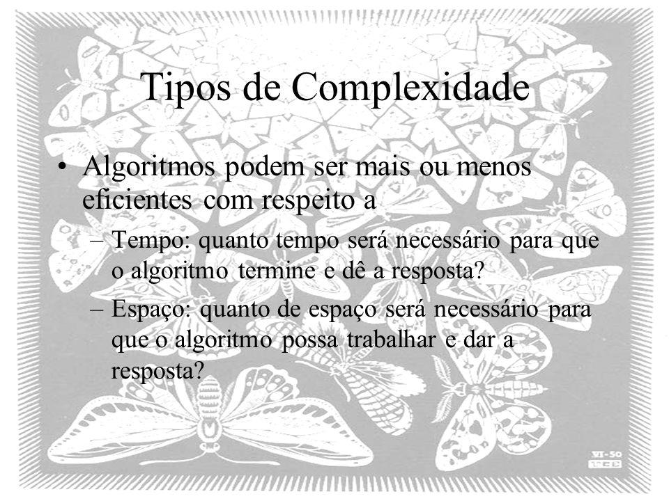 Tipos de Complexidade Algoritmos podem ser mais ou menos eficientes com respeito a –Tempo: quanto tempo será necessário para que o algoritmo termine e dê a resposta.