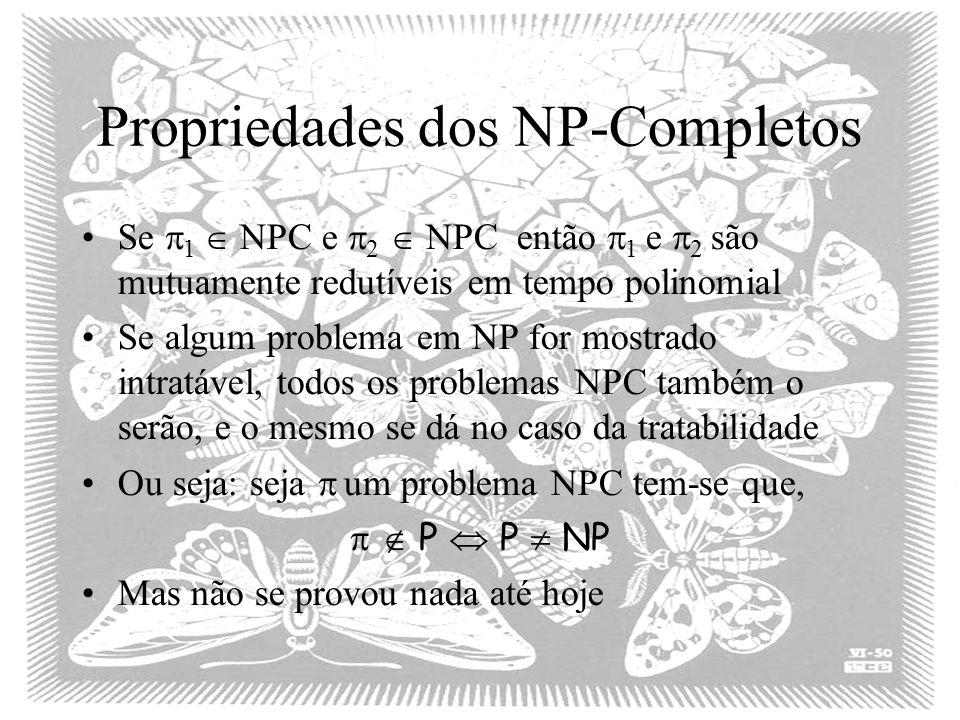 Propriedades dos NP-Completos Se 1 NPC e 2 NPC então 1 e 2 são mutuamente redutíveis em tempo polinomial Se algum problema em NP for mostrado intratável, todos os problemas NPC também o serão, e o mesmo se dá no caso da tratabilidade Ou seja: seja um problema NPC tem-se que, P P NP Mas não se provou nada até hoje