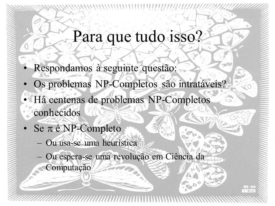 Para que tudo isso? Respondamos à seguinte questão: Os problemas NP-Completos são intratáveis? Há centenas de problemas NP-Completos conhecidos Se é N