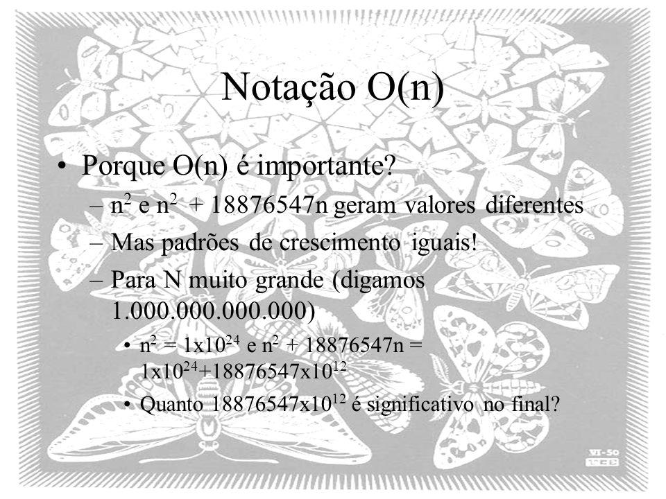 Notação O(n) Porque O(n) é importante? –n 2 e n 2 + 18876547n geram valores diferentes –Mas padrões de crescimento iguais! –Para N muito grande (digam