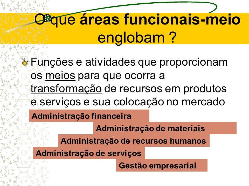 O que áreas funcionais-fim englobam ? Atividades envolvidas diretamente no ciclo de transformação de recursos em produtos e de sua colocação no mercad