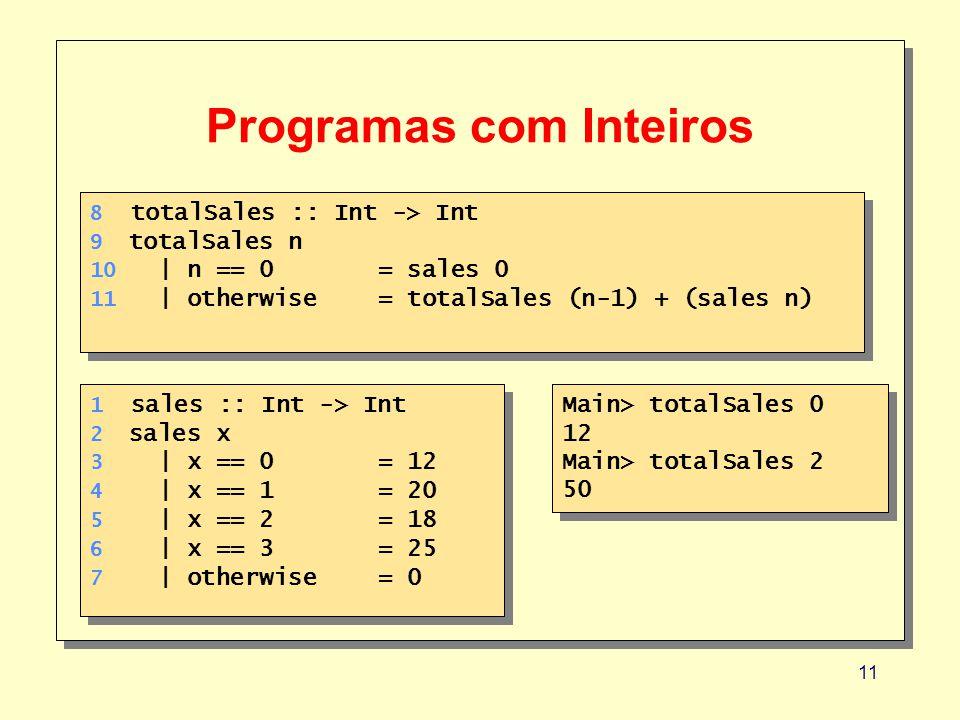 11 Programas com Inteiros 8 totalSales :: Int -> Int 9 totalSales n 10 | n == 0 = sales 0 11 | otherwise= totalSales (n-1) + (sales n) 8 totalSales :: Int -> Int 9 totalSales n 10 | n == 0 = sales 0 11 | otherwise= totalSales (n-1) + (sales n) Main> totalSales 0 12 Main> totalSales 2 50 Main> totalSales 0 12 Main> totalSales 2 50 1 sales :: Int -> Int 2 sales x 3 | x == 0 = 12 4 | x == 1= 20 5 | x == 2= 18 6 | x == 3= 25 7 | otherwise= 0 1 sales :: Int -> Int 2 sales x 3 | x == 0 = 12 4 | x == 1= 20 5 | x == 2= 18 6 | x == 3= 25 7 | otherwise= 0