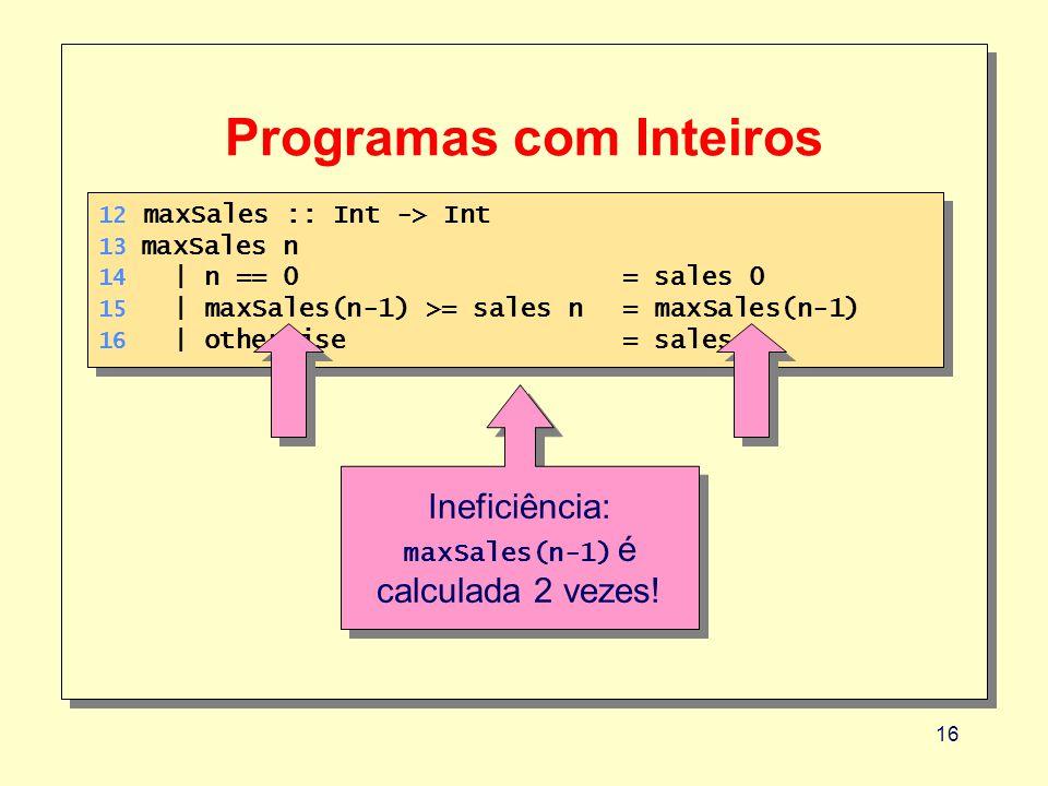 16 Programas com Inteiros 12 maxSales :: Int -> Int 13 maxSales n 14 | n == 0 = sales 0 15 | maxSales(n-1) >= sales n= maxSales(n-1) 16 | otherwise= sales n 12 maxSales :: Int -> Int 13 maxSales n 14 | n == 0 = sales 0 15 | maxSales(n-1) >= sales n= maxSales(n-1) 16 | otherwise= sales n Ineficiência: maxSales(n-1) é calculada 2 vezes.