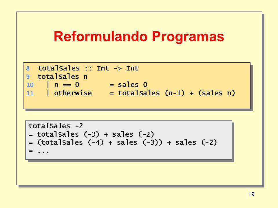 19 Reformulando Programas 8 totalSales :: Int -> Int 9 totalSales n 10 | n == 0 = sales 0 11 | otherwise= totalSales (n-1) + (sales n) 8 totalSales :: Int -> Int 9 totalSales n 10 | n == 0 = sales 0 11 | otherwise= totalSales (n-1) + (sales n) totalSales -2 = totalSales (-3) + sales (-2) = (totalSales (-4) + sales (-3)) + sales (-2) =...