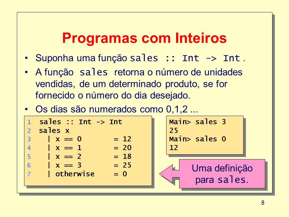 8 Programas com Inteiros Suponha uma função sales :: Int -> Int. A função sales retorna o número de unidades vendidas, de um determinado produto, se f