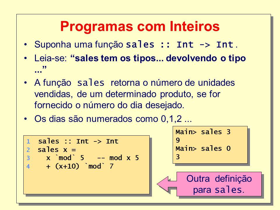 9 Programas com Inteiros Suponha uma função sales :: Int -> Int. Leia-se: sales tem os tipos... devolvendo o tipo... A função sales retorna o número d