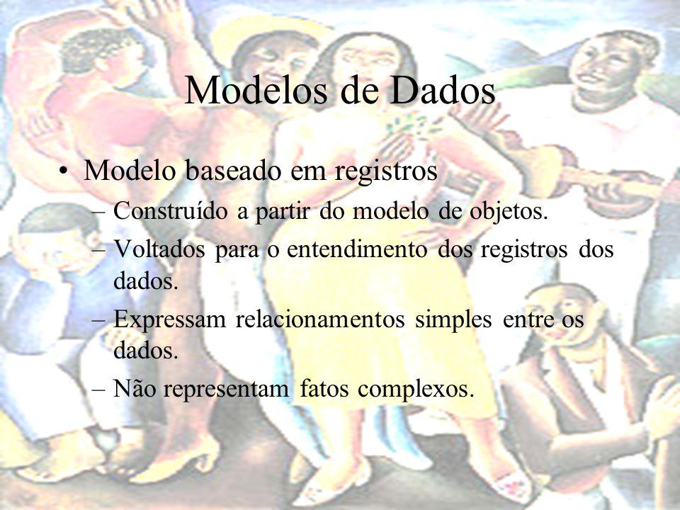 Modelos de Dados Modelo baseado em registros –Dependentes da arquitetura do BD: Voltados para a implementação.