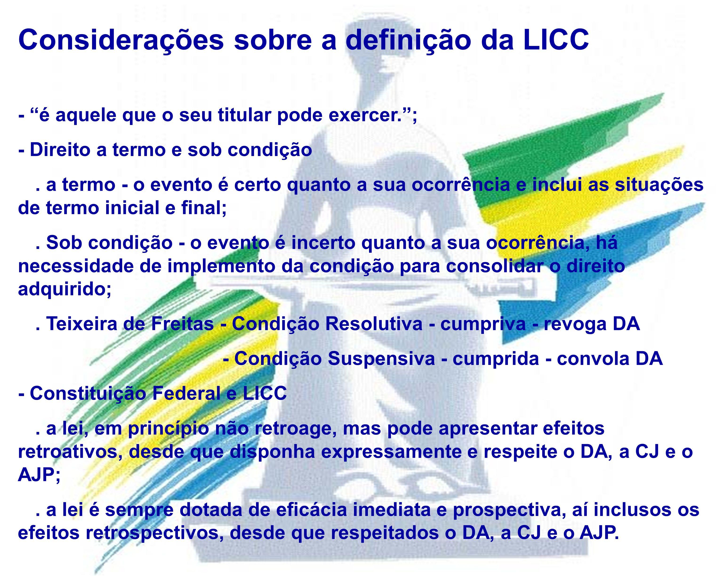 Considerações sobre a definição da LICC - é aquele que o seu titular pode exercer.; - Direito a termo e sob condição. a termo - o evento é certo quant