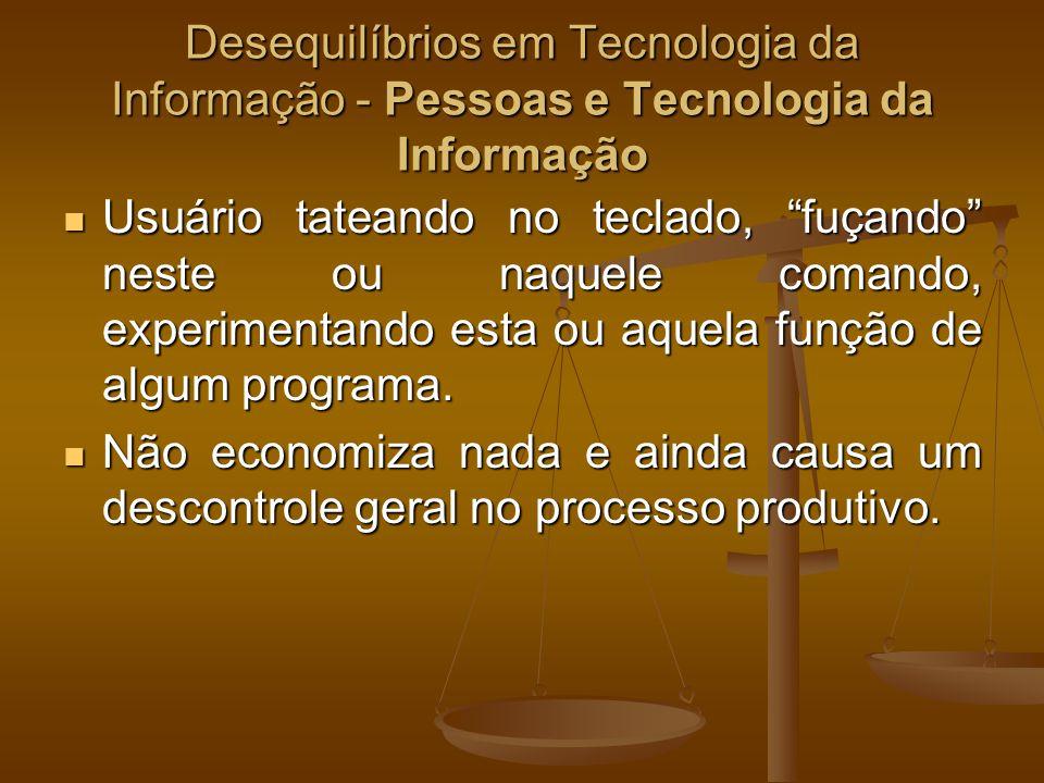Desequilíbrios em Tecnologia da Informação - Pessoas e Tecnologia da Informação Usuário tateando no teclado, fuçando neste ou naquele comando, experim