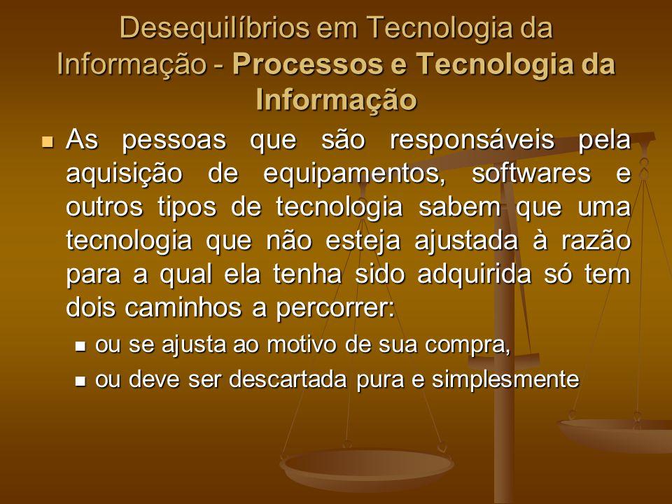 Desequilíbrios em Tecnologia da Informação - Processos e Tecnologia da Informação As pessoas que são responsáveis pela aquisição de equipamentos, soft