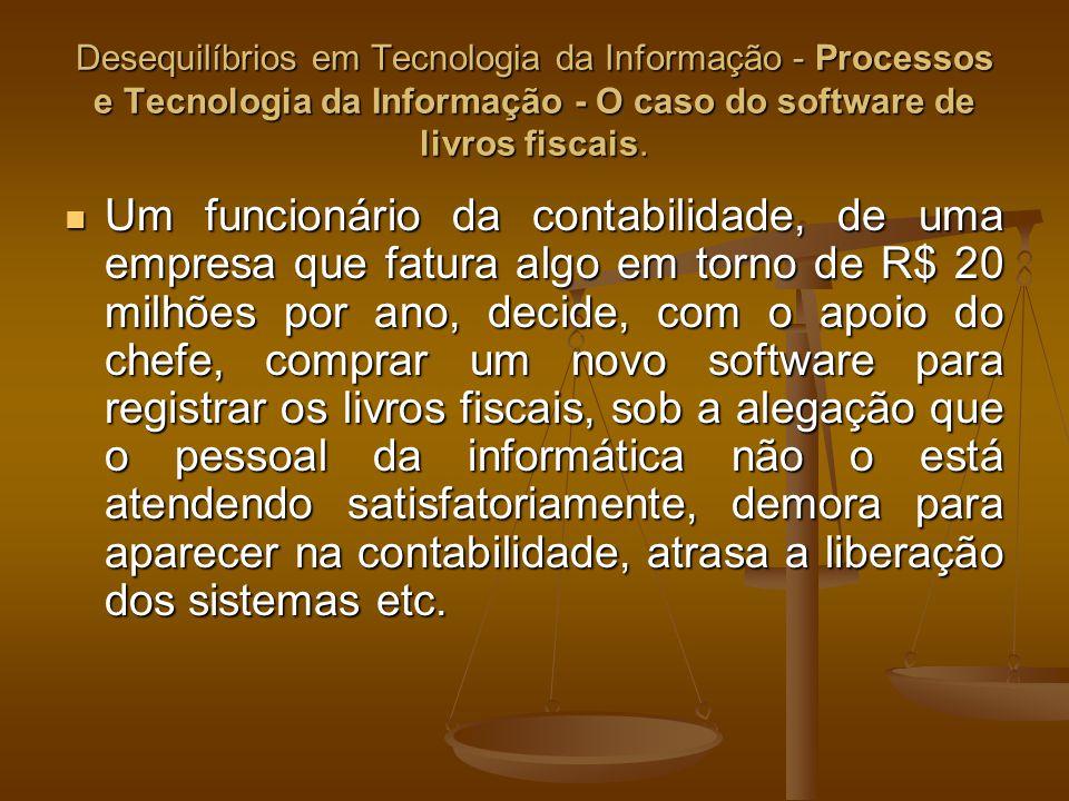 Desequilíbrios em Tecnologia da Informação - Processos e Tecnologia da Informação - O caso do software de livros fiscais. Um funcionário da contabilid
