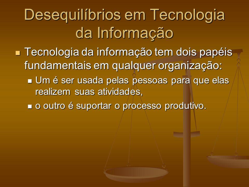 Desequilíbrios em Tecnologia da Informação Tecnologia da informação tem dois papéis fundamentais em qualquer organização: Tecnologia da informação tem