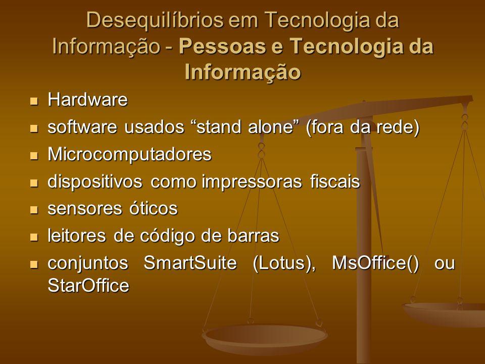 Desequilíbrios em Tecnologia da Informação - Pessoas e Tecnologia da Informação Hardware Hardware software usados stand alone (fora da rede) software