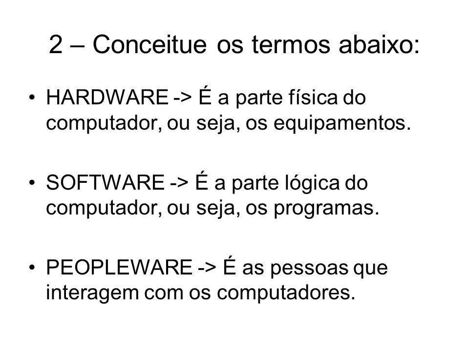3 – O que e memória volátil e não- volátil, e cite exemplos: Volátil -> É a memória que perde as informações quando o computador é desligado.