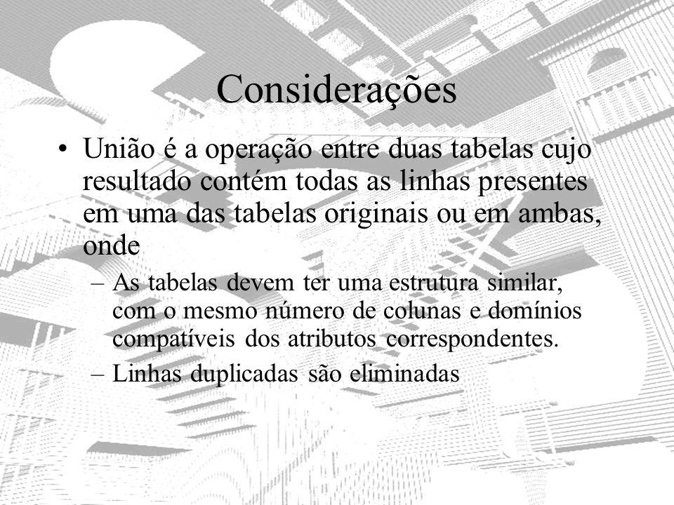 Considerações União é a operação entre duas tabelas cujo resultado contém todas as linhas presentes em uma das tabelas originais ou em ambas, onde –As