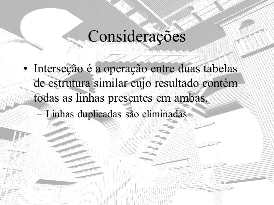 Considerações Interseção é a operação entre duas tabelas de estrutura similar cujo resultado contém todas as linhas presentes em ambas. –Linhas duplic