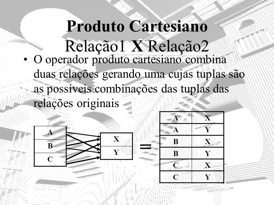 Produto Cartesiano Relação1 X Relação2 O operador produto cartesiano combina duas relações gerando uma cujas tuplas são as possíveis combinações das t