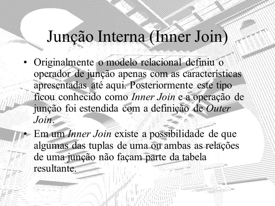 Junção Interna (Inner Join) Originalmente o modelo relacional definiu o operador de junção apenas com as características apresentadas até aqui. Poster