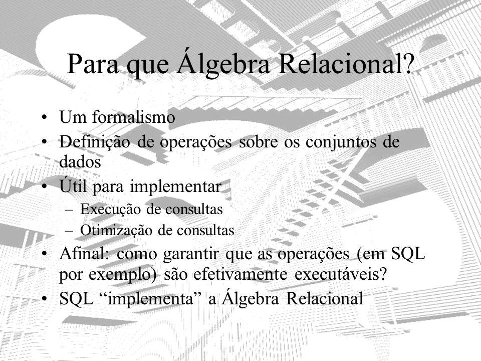 Para que Álgebra Relacional? Um formalismo Definição de operações sobre os conjuntos de dados Útil para implementar –Execução de consultas –Otimização