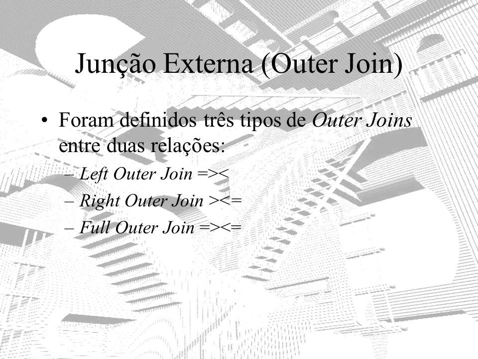 Junção Externa (Outer Join) Foram definidos três tipos de Outer Joins entre duas relações: –Left Outer Join =>< –Right Outer Join ><= –Full Outer Join