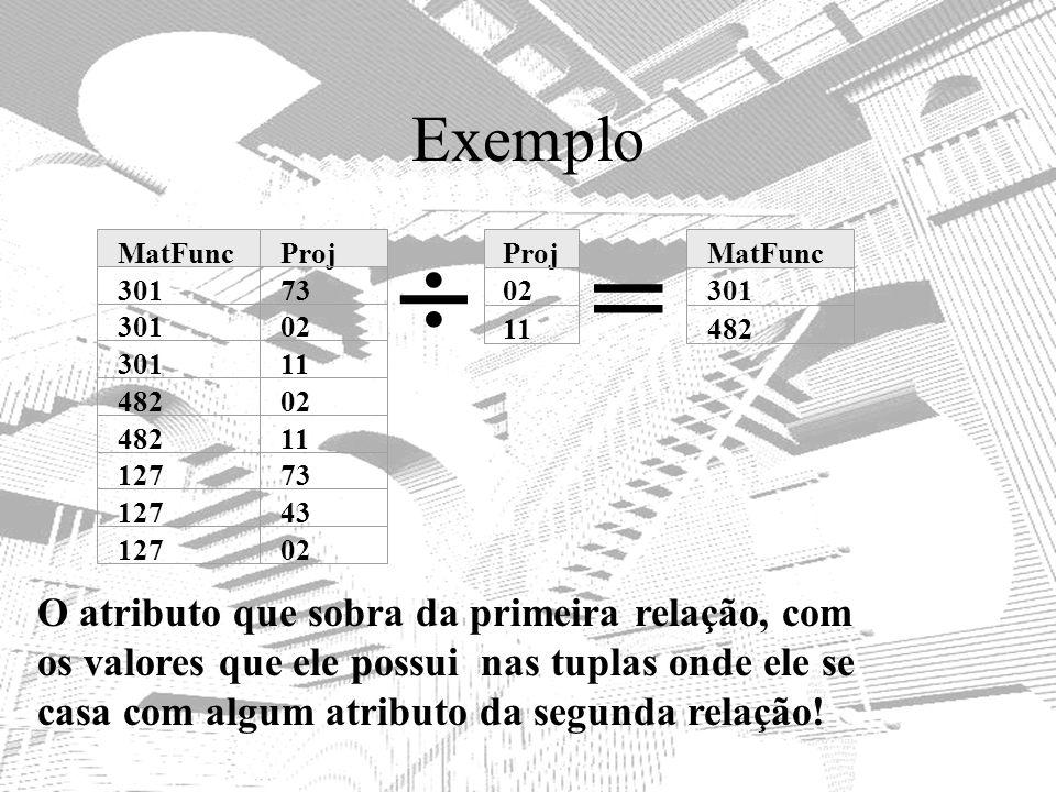 Exemplo MatFuncProj 30173 30102 30111 48202 48211 12773 12743 12702 Proj 02 11 MatFunc 301 482 = O atributo que sobra da primeira relação, com os valo