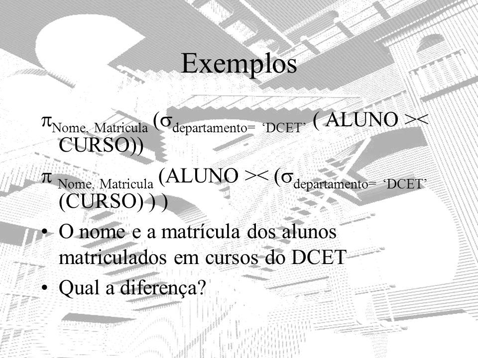 Exemplos Nome, Matricula ( departamento= DCET ( ALUNO >< CURSO)) Nome, Matricula (ALUNO >< ( departamento= DCET (CURSO) ) ) O nome e a matrícula dos a