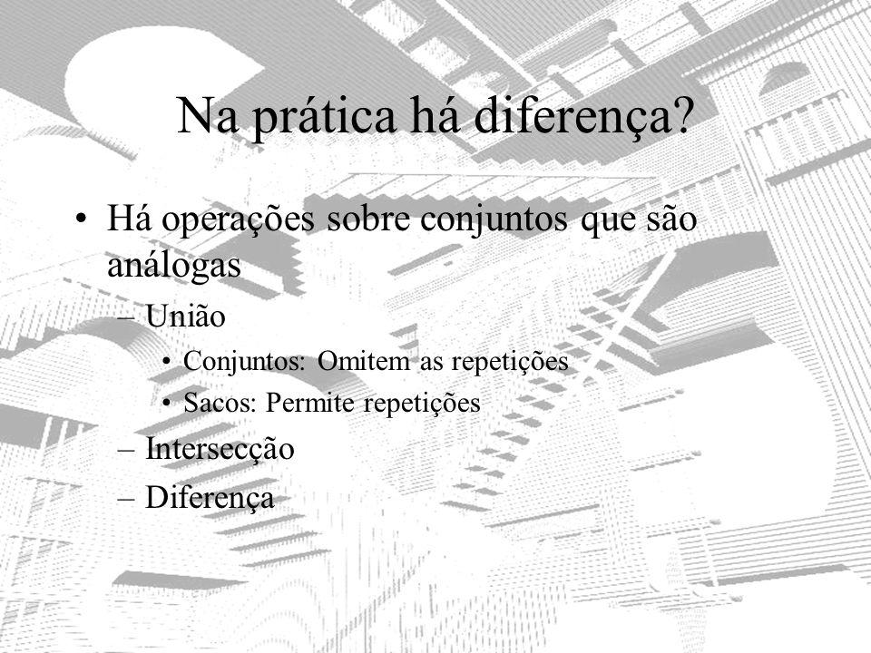 Na prática há diferença? Há operações sobre conjuntos que são análogas –União Conjuntos: Omitem as repetições Sacos: Permite repetições –Intersecção –