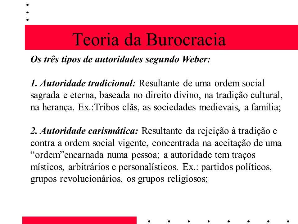 Teoria da Burocracia Os três tipos de autoridades segundo Weber: 1.