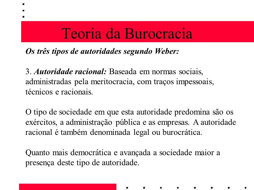 Teoria da Burocracia Os três tipos de autoridades segundo Weber: 3.