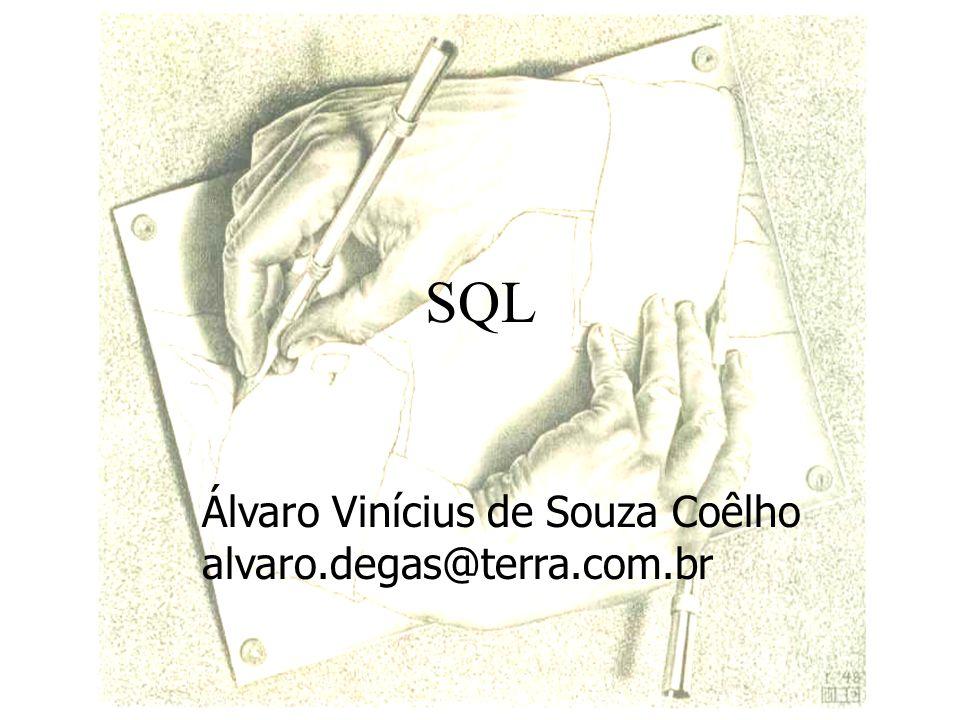 SQL Sigla de Structured Query Language Desenvolvida no hoje Centro de Pesquisa Almadem (IBM) Início dos anos 70 1 o Produto comercial, Oracle RDBMS (Oracle Co), 1979 1 o Padrão publicado pelo Ansi em 1986