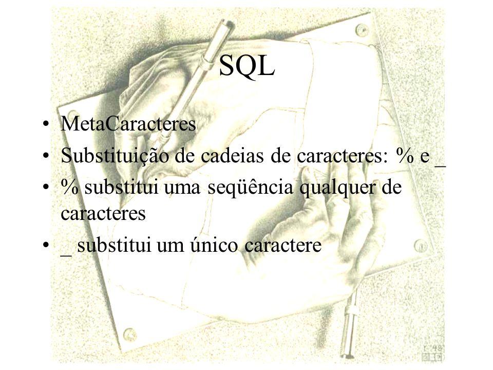 SQL MetaCaracteres Substituição de cadeias de caracteres: % e _ % substitui uma seqüência qualquer de caracteres _ substitui um único caractere