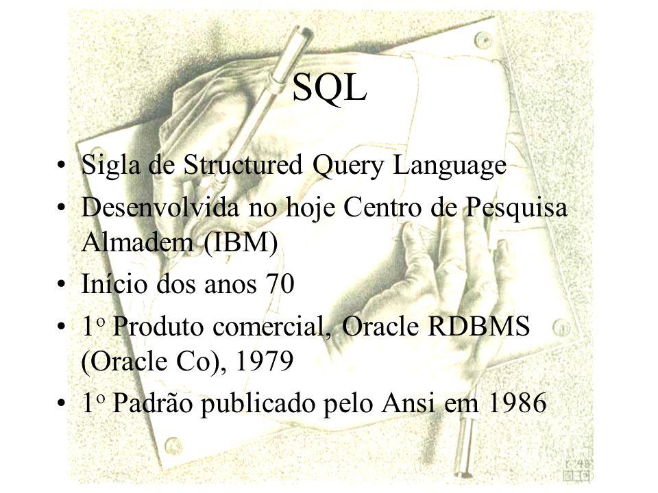 SQL Inclusão: Insert Insert into t (a1, a2,..., an) Values (v1, v2, … vn)