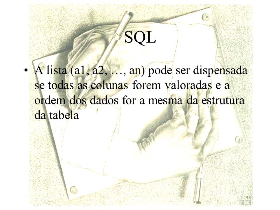 SQL A lista (a1, a2, …, an) pode ser dispensada se todas as colunas forem valoradas e a ordem dos dados for a mesma da estrutura da tabela