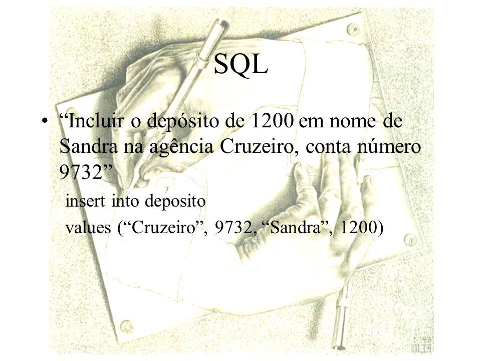 SQL Incluir o depósito de 1200 em nome de Sandra na agência Cruzeiro, conta número 9732 insert into deposito values (Cruzeiro, 9732, Sandra, 1200)
