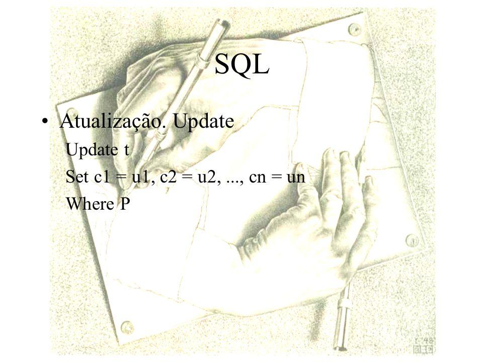 SQL Atualização. Update Update t Set c1 = u1, c2 = u2,..., cn = un Where P