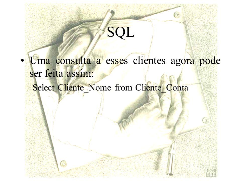 SQL Uma consulta a esses clientes agora pode ser feita assim: Select Cliente_Nome from Cliente_Conta