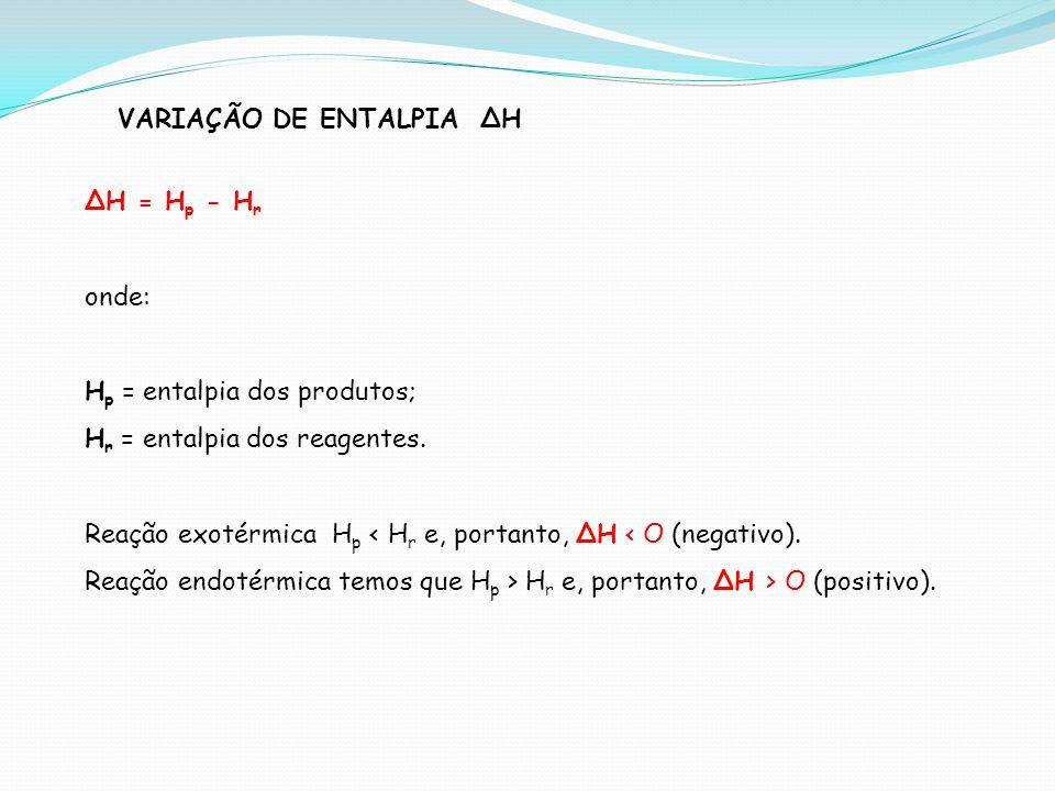 VARIAÇÃO DE ENTALPIA H H = H p - H r onde: H p = entalpia dos produtos; H r = entalpia dos reagentes. Reação exotérmica H p < H r e, portanto, H < O (