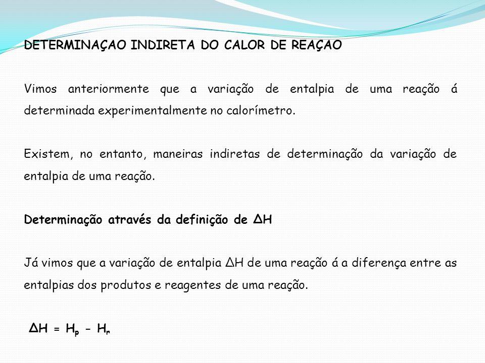 DETERMINAÇAO INDIRETA DO CALOR DE REAÇAO Vimos anteriormente que a variação de entalpia de uma reação á determinada experimentalmente no calorímetro.
