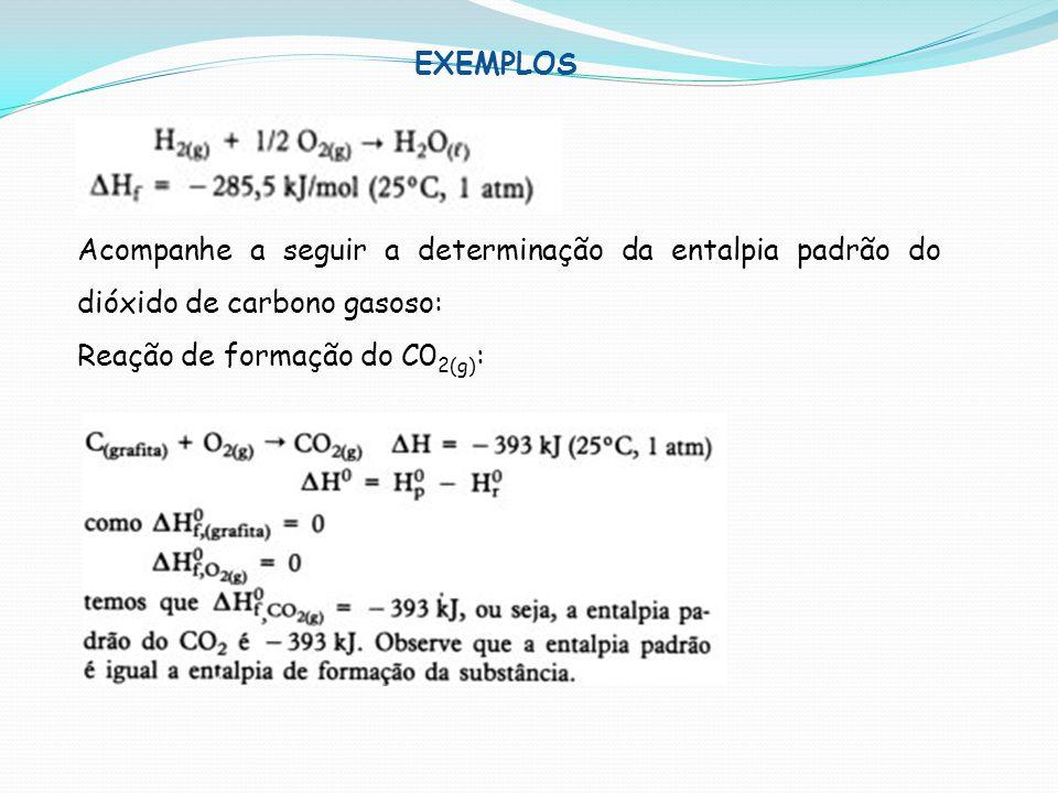Acompanhe a seguir a determinação da entalpia padrão do dióxido de carbono gasoso: Reação de formação do C0 2(g) : EXEMPLOS
